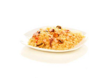 Рис по пекински с морепродуктами в кафе Микс